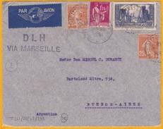 1937 - Enveloppe Par Avion - DLH Via Marseille - De Paris Vers Buenos Aires, Argentine - Ligne Mermoz - Cad Arrivée - Marcofilia (sobres)
