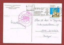 Stempels Schip Navire En RMT Prins Albert & Slogan Legaerdfeesten Oostende Op Kaart - Postmark Collection
