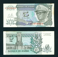 ZAIRE  -  24/06/1993  5 New Makuta  Circulated Banknote  (Clean With No Major Folds Or Creases) - Zaire