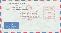 "Iran 1967 Tehran Meter Franking Hasler ""F88"" Solid Block In Place Of M# Bank Slogan EMA Cover - Iran"
