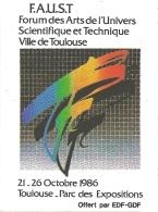 Autocollant / Sticker / Aufkleber -  F.A.U.S.T. :  Forum Des Arts De L'Univers Scientifique Et Technique - Toulouse 1986 - Aufkleber