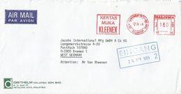 "Malaysia 1984 Selangor Meter Franking Value Sen Neopost ""205"" NE36 Kleenex Slogan EMA Cover - Maleisië (1964-...)"