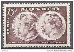 """Monaco YT 352 """" Cinquantenaire De L'Académie Goncourt """" 1951 Neuf** - Unused Stamps"""