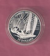 KIRIBATI 20 DOLLARS 1992 OLYMPIC GAMES 1992 SILVER PROOF SAILING - SPOTS ONLY ON CAPSEL - Kiribati