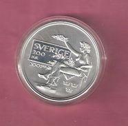 ZWEDEN 200 KRONER 2001 SILVER 100TH ANN. NOBELPRICE KM929 - SPOTS ONLY ON CAPSEL - Suède