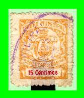 SELLO TIMBRE MUNICIPAL DE SANLUCAR DE BARRAMEDA  VALOR  15 Cts. - Beneficiencia (Sellos De)