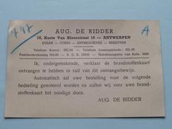 Lotje Ivm KOLEN / Rantsoeneeringskaart > Antwerpen ( Aug. De Ridder KOLEN ) ( Zie Foto's Voor Detail AUB ) ! - Cachets Généralité