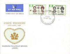 Nigeria 1969 Lagos State Wedding Generalmajor Yakubu Gowon Victoria Zakari FDC Cover - Nigeria (1961-...)