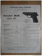 Publicité De La MANUFACTURE D'ARMES AUTOMATIQUES De BAYONNE - Pistolet MAB Super GZ - Armes Neutralisées