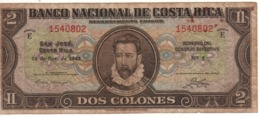 COSTA RICA   2  Colones   P201a    Dated 12-11-1943   Circulated - Costa Rica