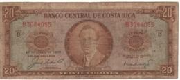 COSTA RICA   20  Colones   P231a    Dated 27-8-1966   Circulated - Costa Rica