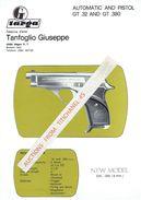 Publicité De La Fabbrica D'armi TANFOGLIO GIUSEPPE BRESCIA ITALY - AUTOMATIC AND PISTOL GT .32 AND GT .380 - Armes Neutralisées