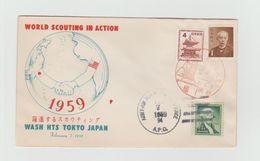 JAPON - TOKYO - SCOUTISME - 2 Timbres Japon Et 1 Timbre US - Brieven En Documenten