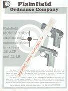 Publicité Originale PLAINFIELD MODELS 71 & 72 Automatic Pistols In Calibers .25 ACP And .22 LR - PLAINFIELD ORDNANCE CY - Armes Neutralisées
