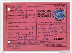 Avis De Réception Ou De Paiement 1953, 15F Gandon - Marcophilie (Lettres)