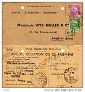 Avis De Réception Ou De Paiement 1950, 10F + 5F Gandon - Poststempel (Briefe)