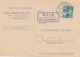 BÄSCH über Hermeskeil - 1949  ,  Landpoststempel , Postnebenstempel - Zone Française