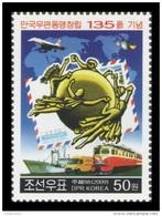 North Korea 2009 Mih. 5446 Universal Postal Union (UPU). Train. Automobile. Ship. Plane. Space. Satellite MNH ** - Korea, North