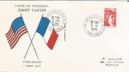 Sabine, 1f Rouge Sur Lettre, Visite Du Pdt Américain Jimmy Carter, Versailles Le 05/01/1978 - FDC