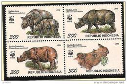 INDONESIE WWF,Le Rhinocéros De Java Et Le Rhinocéros De Sumatra, YVERT 1454/57** Neuf Sans Charniere. MNH - W.W.F.