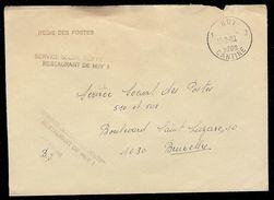 "Huy 1 Cantine 13/2/1983 Op Dienstbrief Met Griffes ""REGIE DES POSTES"" + ""SERVICE SOCIAL DES POSTES RESTAURANT DE HUY 1"" - Poststempel"