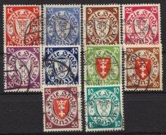 """10 Versch. Werte """"Wappen"""", Aus 214/272, O - Danzig"""