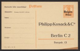 "Belgien, Zudruck ""Kosack, Berlin"", Beidseitig, P10, * - Occupation 1914-18"