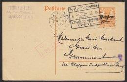 """Belgien, Bedarf """"Brüssel"""",23.2.17, Doppelte Zensur, P10II, O - Besetzungen 1914-18"""