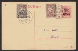 """Rumänien, Zusatzfrankatur Z2x Und Z5a, Stempel """"Bukarest"""", 2.11.17, Kein Text, P1, O - Besetzungen 1914-18"""
