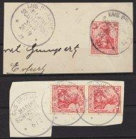 """Marineschiffspost, 2x Briefstück, 2x Stempel """"Marineschiffspost Nr. 6"""", 28.9.09 Und 6.2., 86I - Besetzungen 1914-18"""