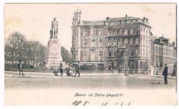 CPA Dos Non Divisé Un Peu Rosée :  NAMUR - Statue Léopold 1er - Institut Ophtalmique, Clinique Des Yeux  (Bribosia) - Namur
