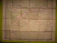Belle Carte Du Maroc Routes Et Chemins De Fer 1926 - World
