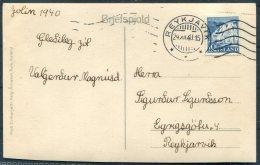 1940 (24/12) Iceland Reykholtsskolinn Postcard 10aur Dynjandi Waterfall Reykjavik Bridge Machine Cancel - 1918-1944 Administration Autonome