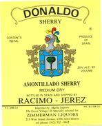 1368 - Espagne - Andalousie - Donaldo - Amontillado Sherry Medium Dry - Racimo - Jerez Pour Zimmerman Liquors Chicago - Etiquettes