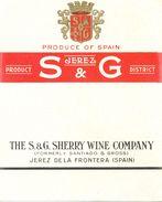 1371 - Espagne - Andalousie - Etiquette Vierge S & G - Sherry Wine Company - Jerez De La Frontera - Etiquettes