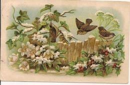 L100C109 - Petits Oiseaux Sur Barrière Fleurie - Carte Gauffrée Et Dorée - - Birds