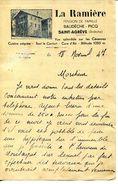 """07.ARDECHE.SAINT AGREVE.PENSION DE FAMILLE """" LA RAMIERE """" BAUDECHE & PICQ.FACTURETTE. - Unclassified"""