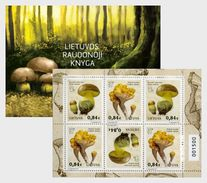 LITHUANIA 2016 Red Book Of Lithuania - Funghi - Stamp Booklet - Champignons