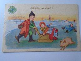 D154726 Pig Cochon  Sledge Skate   - Hungary New Year Card  1938  Mohács Újpest - Cochons