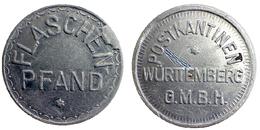 01675 GETTONE TOKEN JETON FICHA BEVERAGE KANTINE FLASCHEN PFAND POSTKANTINEN WURTTEMBERG G.M.B.H. ALU - Allemagne