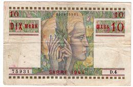 Rare  : 10 MARK - SARRE 1947 - Trésor