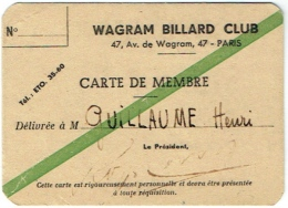 Wagram Billard Club Paris. Carte De Membre - Cartes