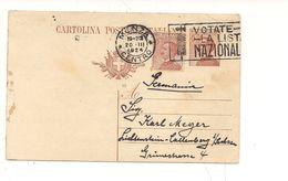 1892) Regno Intero Postale Michetti 30c + Gemello Destinazione GERMANIA 1924 Annullo Targhetta - Interi Postali