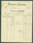 90 - Brasserie De Beaucourt Facture Bière 1880 Veuve Auguste Horst Bier Brauerei - Factures