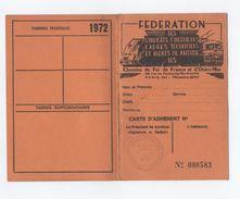 CARTE SYNDICAT 1970 CHEMIN DE FER  CHEMINOT   -A4 - Oude Documenten