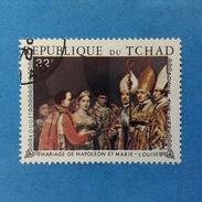 REPUBLIQUE DU TCHAD FRANCOBOLLO USATO STAMP USED MATRIMONIO NAPOLEONE MARIA LUISA 32 - Ciad (1960-...)
