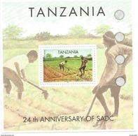 2004 Tanzania SADCC  Agriculture Rice Maize Irrigation Complete Set Of 4 And Souvenir Sheet MNH - Tanzanie (1964-...)