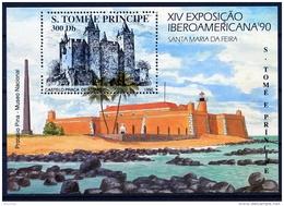 Sao Tome E Principe, 1990, Iberoamericana Stamp Exhibition, Castle, Fortress, MNH, Michel Block 233 - Sao Tome En Principe
