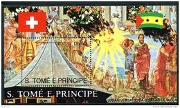 Sao Tome E Principe, 1990, 700th Anniversary Of Switzerland, MNH, Michel Block 244 - Sao Tome En Principe