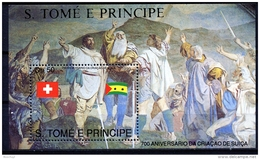 Sao Tome E Principe, 1990, 700th Anniversary Of Switzerland, Oath, MNH, Michel Block 245 - Sao Tome Et Principe
